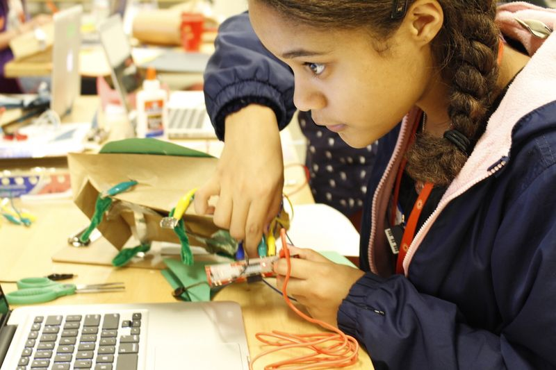 youth assembling makey makey